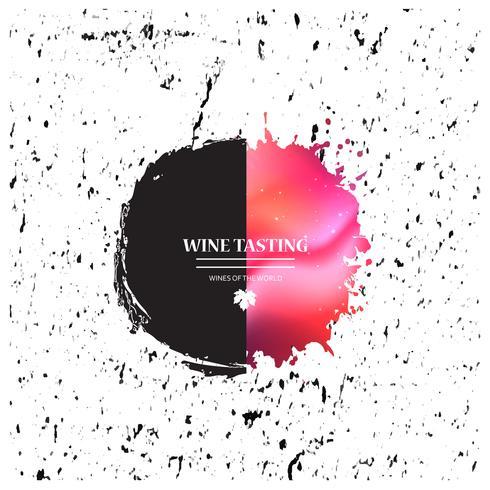 Bannière de promotion des éclaboussures de peinture avec une feuille de vigne pour une dégustation de vin vecteur