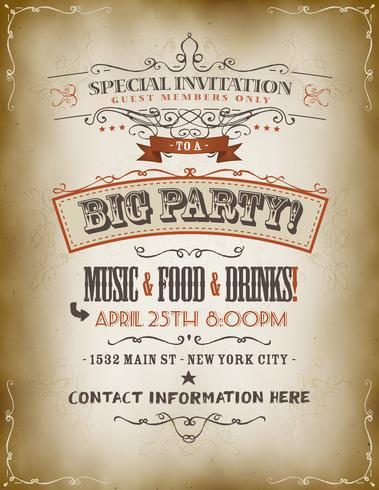 Affiche Vintage Invitation Big Party vecteur