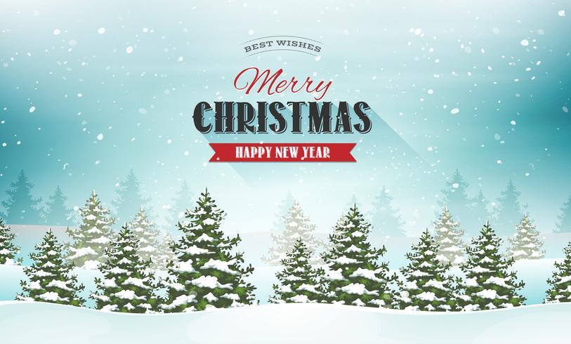 Carte postale de paysage de joyeux Noël vecteur
