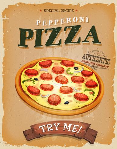 Affiche vintage de pizza de pepperoni de grunge vecteur