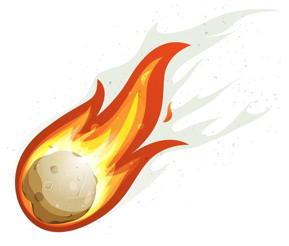 Boule de feu dessin animé et vol de comète vecteur