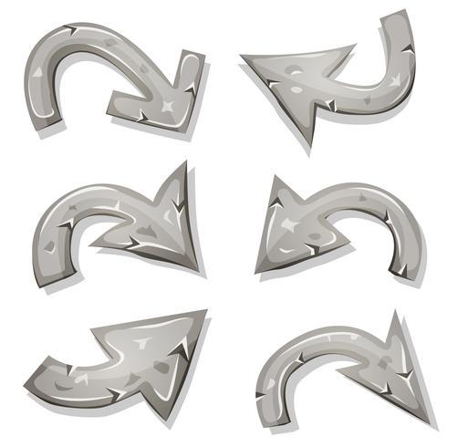 Stone Arrows Set Pour Ui Jeu vecteur