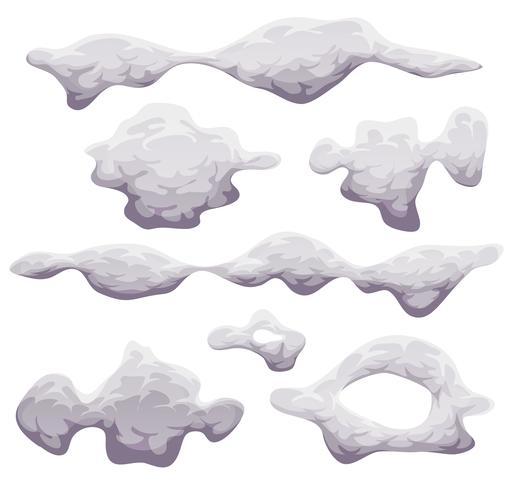 Dessin animé de fumée, de brouillard et de nuages vecteur