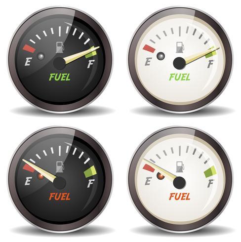 Jeu d'icônes de jauge de carburant vecteur