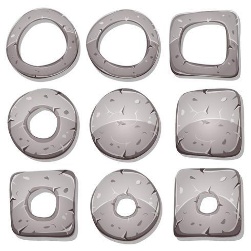 Bagues, cercles et formes en pierre pour le jeu de l'interface utilisateur vecteur