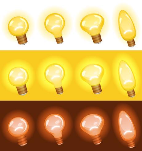 Ensemble d'ampoules vecteur