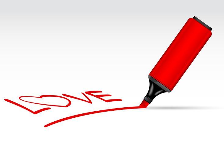 Surligneur Stylo écrit Amour vecteur