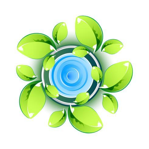 Feuilles vertes montrant le symbole écologique vecteur