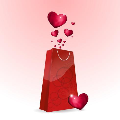sac à provisions avec coeur vecteur