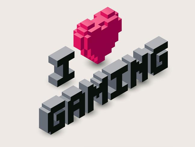 Icône de pixel de jeu 3D. vecteur