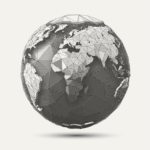 Illustration de globe terrestre art ligne géométrique vecteur