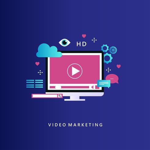 Campagne de marketing vidéo promotion en ligne vecteur