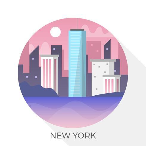 New York Skyline plat en illustration vectorielle cercle vecteur