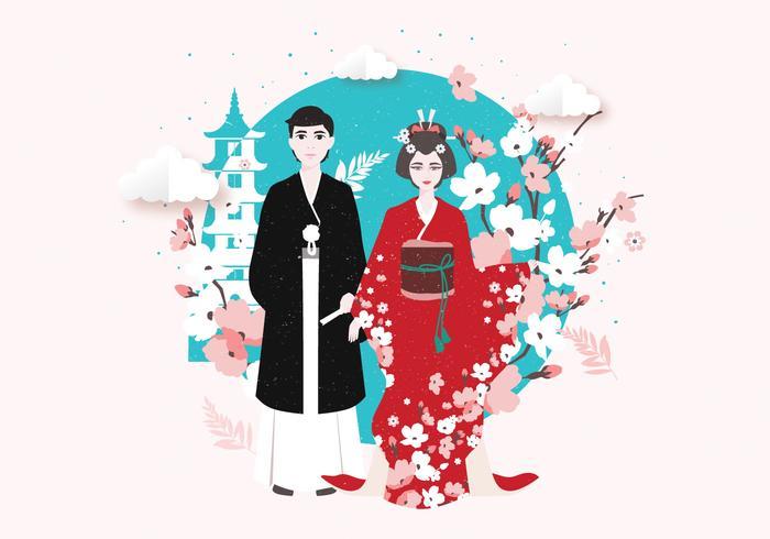 Vecteur de costume traditionnel de Tokyo