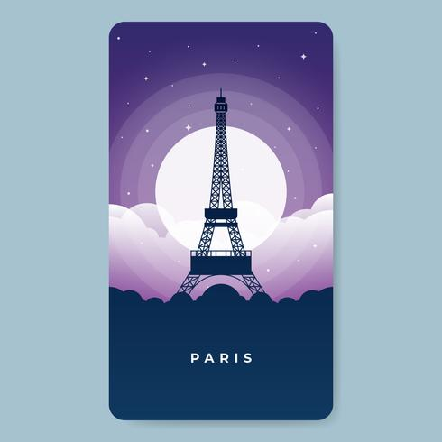 La tour Eiffel à Paris la nuit, pleine d'illustrations d'étoiles vecteur