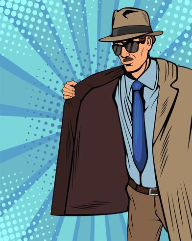 Le contrebandier vend illégalement au marché noir. Cape-vendeur. Marchand en chapeau et manteau. Bootlegger. Illustration vectorielle dans un style bande dessinée rétro pop art. vecteur