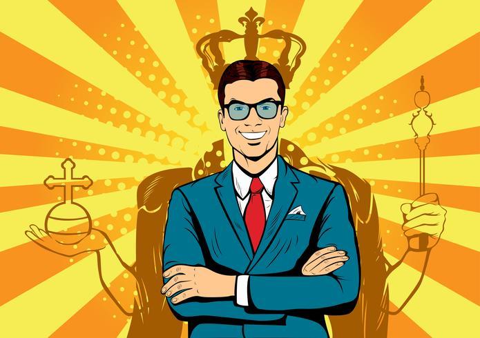 Roi des affaires. Homme d'affaires avec une ombre comme roi. Homme dirigeant, responsable de la réussite, ego humain. Illustration de comique pop art rétro de noyade. vecteur