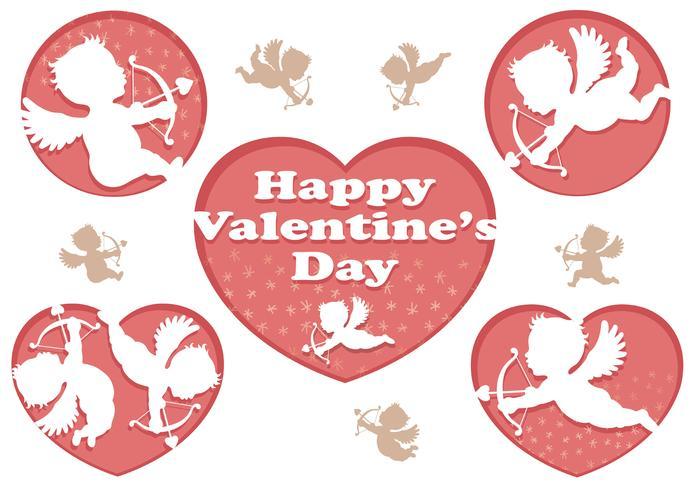 Ensemble d'icônes 3D relief Cupidon pour la Saint-Valentin. vecteur