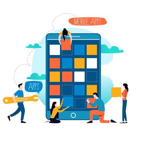 Processus de développement d'applications mobiles vecteur
