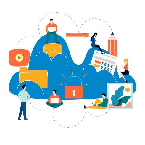 Services et technologie de cloud computing vecteur