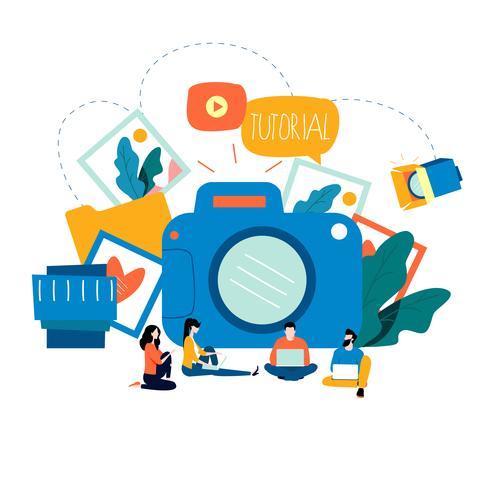 Cours de photographie, cours de photographie, tutoriels, concept d'éducation vecteur