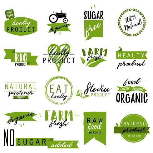 Autocollants et badges pour les aliments et boissons biologiques vecteur