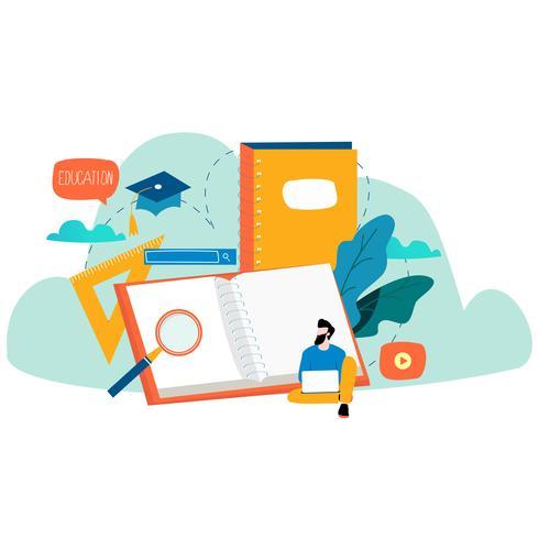 Education, cours de formation en ligne vecteur
