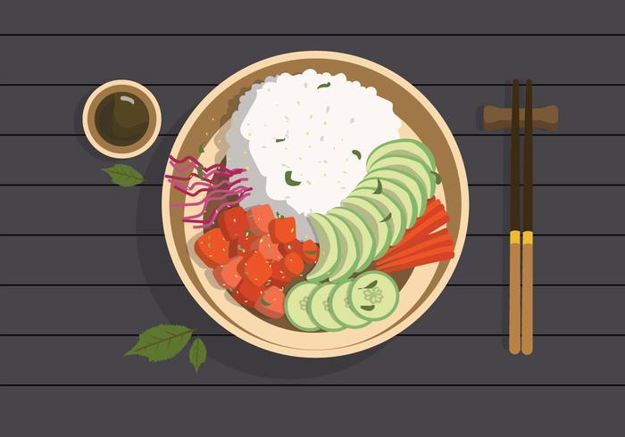 Illustration de plat Vector aliments biologiques Poke Bowl