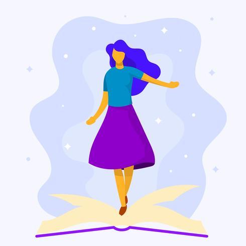 Illustration vectorielle de plat moderne fille Bookworm vecteur