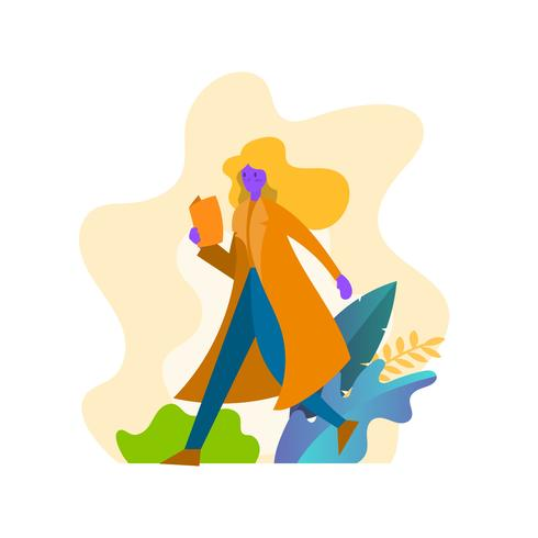 Illustration vectorielle de plat moderne décontractée femme Bookworm vecteur