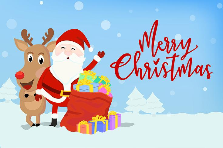Père Noël avec le renne vecteur