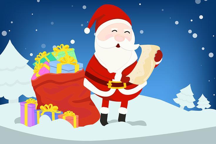 Père Noël avec liste de noms vecteur