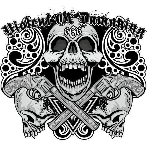 Signe gothique avec tête de mort, t-shirts design vintage grunge vecteur