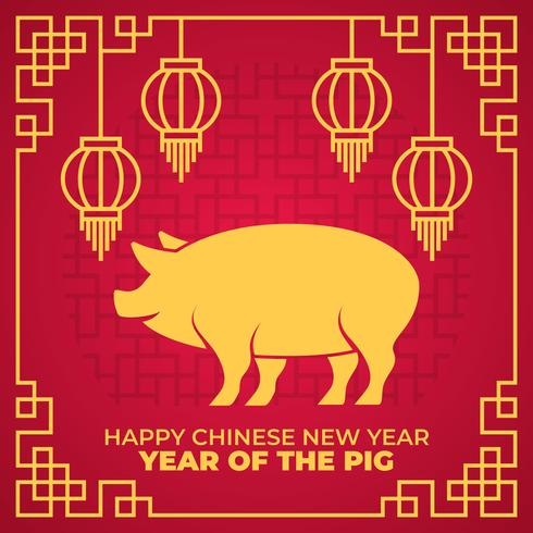 Joyeux nouvel an chinois 2019, année de l'illustration vectorielle de porc vecteur