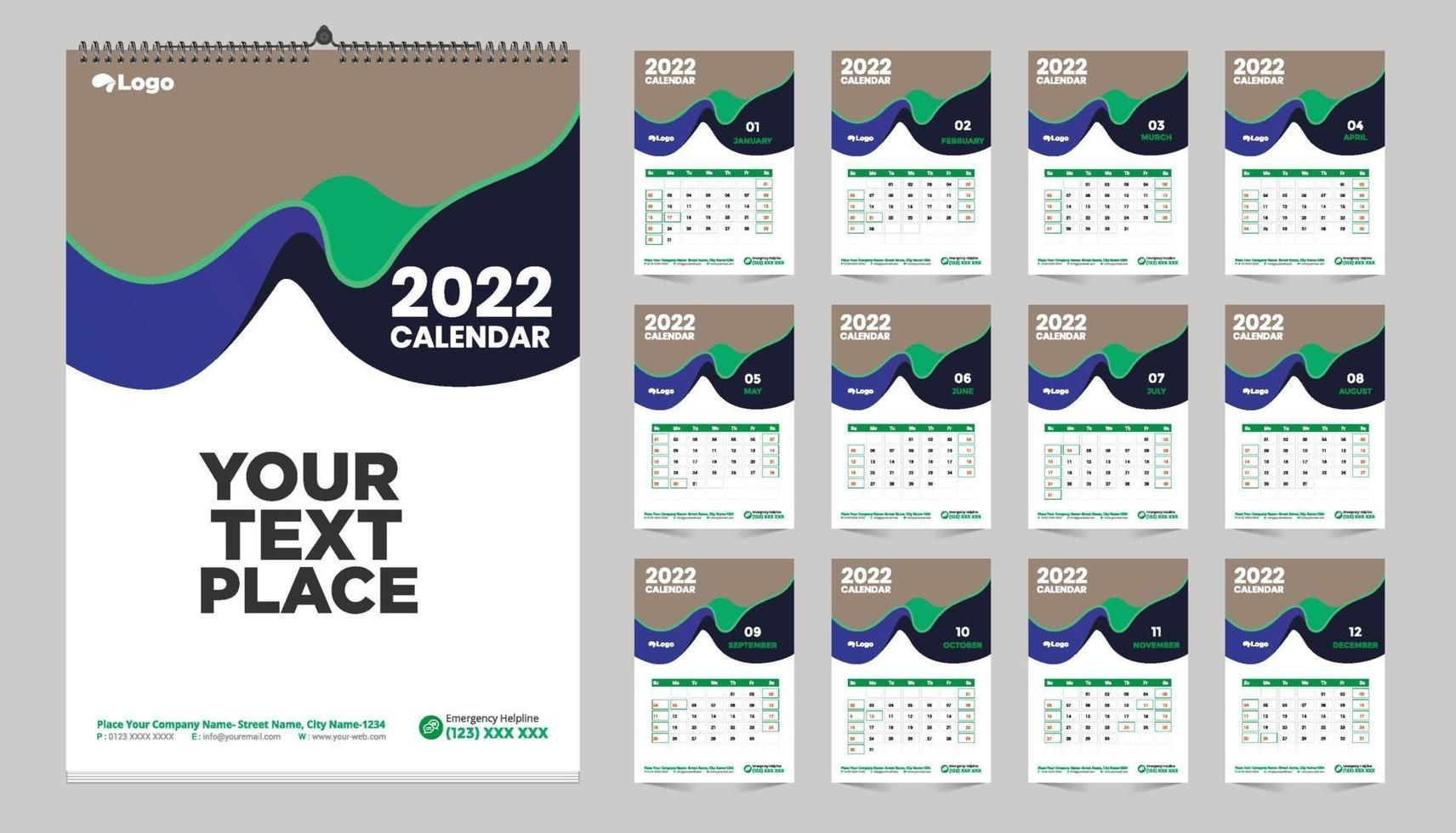 Calendrier Mensuel 2022 2023 conception de modèle de calendrier mural mensuel gratuit pour l