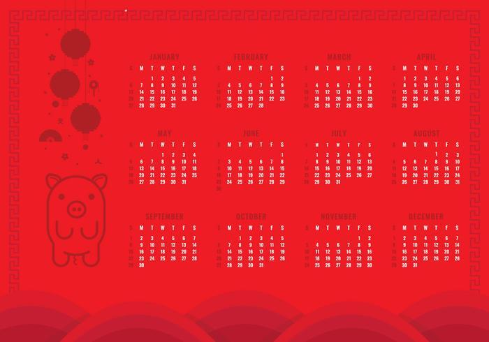 Calendrier imprimable du nouvel an chinois 2019 vecteur
