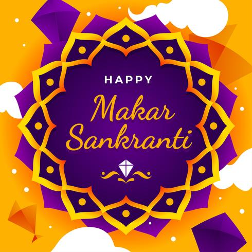 Modèle de voeux heureux Makar Sankranti. vecteur