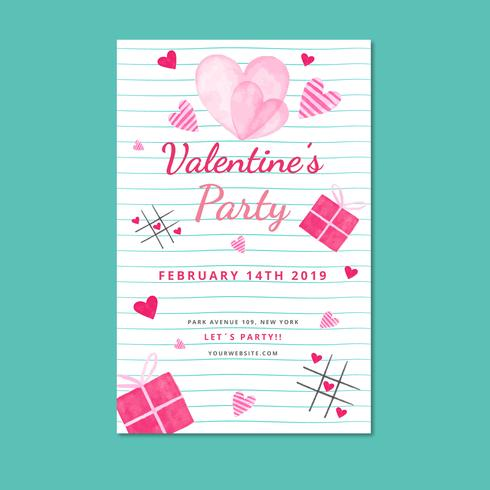 Modèle d'Affiche de Valentine mignon avec feuille et coeurs vecteur