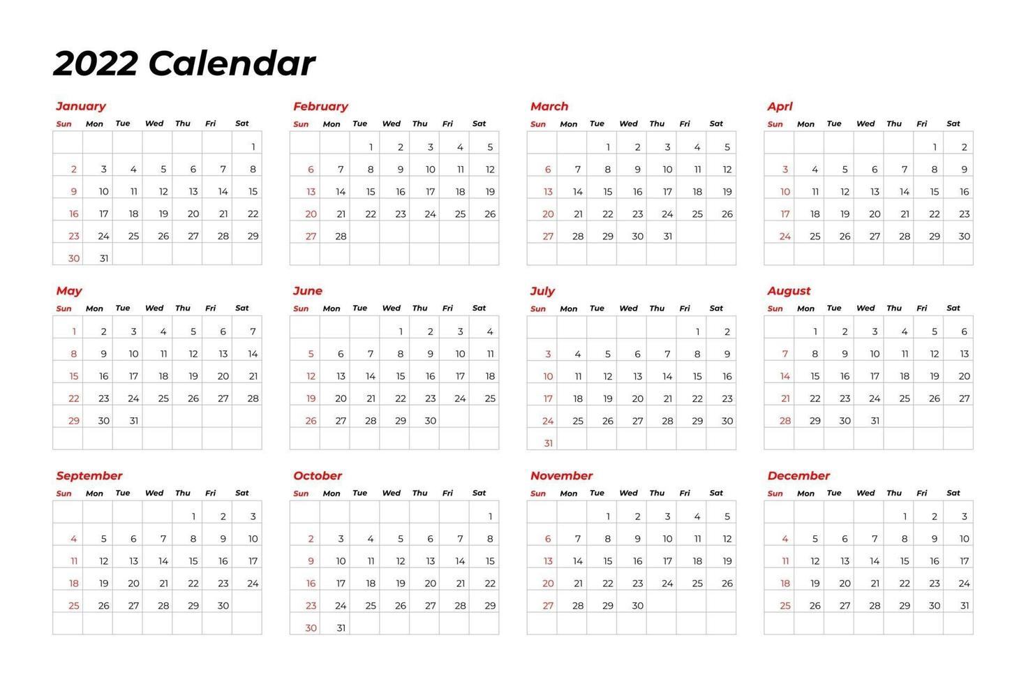 Calendrier En Ligne 2022 Modèle de calendrier 2022 avec ligne 2737635   Telecharger