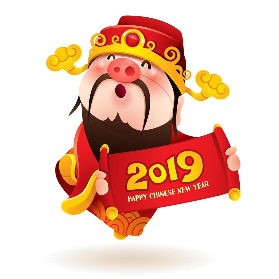 Chinese God of Wealth with a pig nose holds 2019 sign vecteur