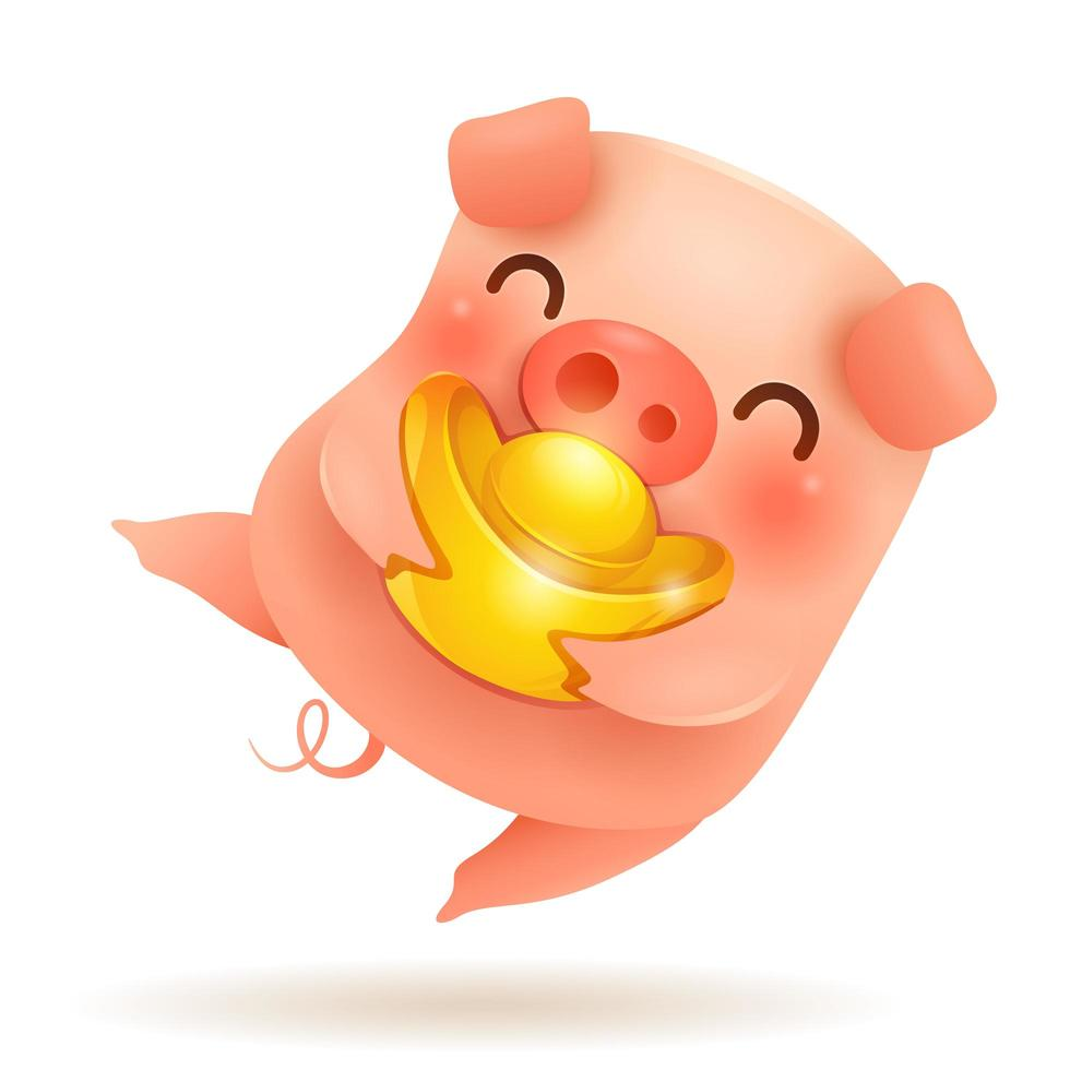 The Little Pig with Chinese gold - Ingot. vecteur