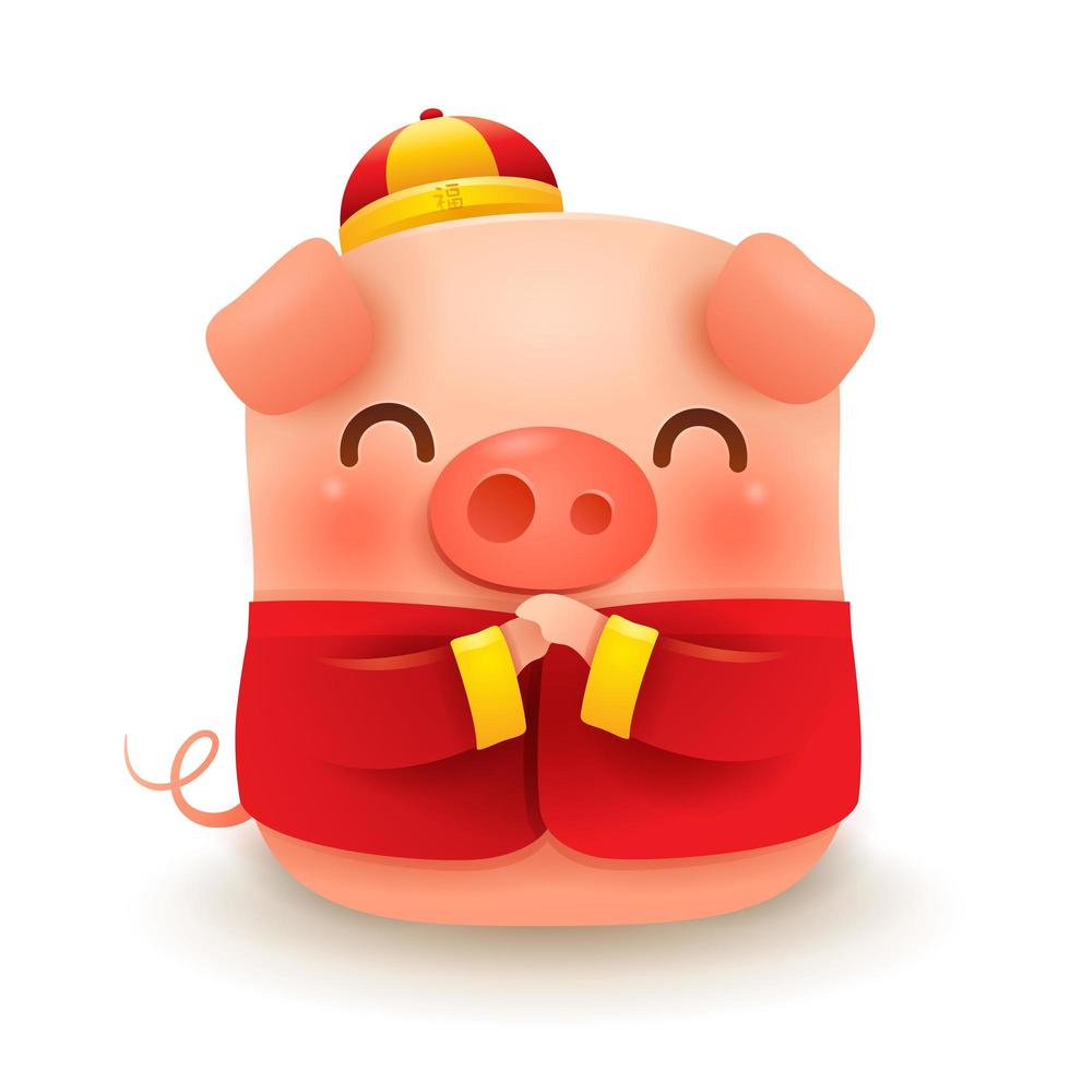 Little Pig with traditional Chinese costume vecteur
