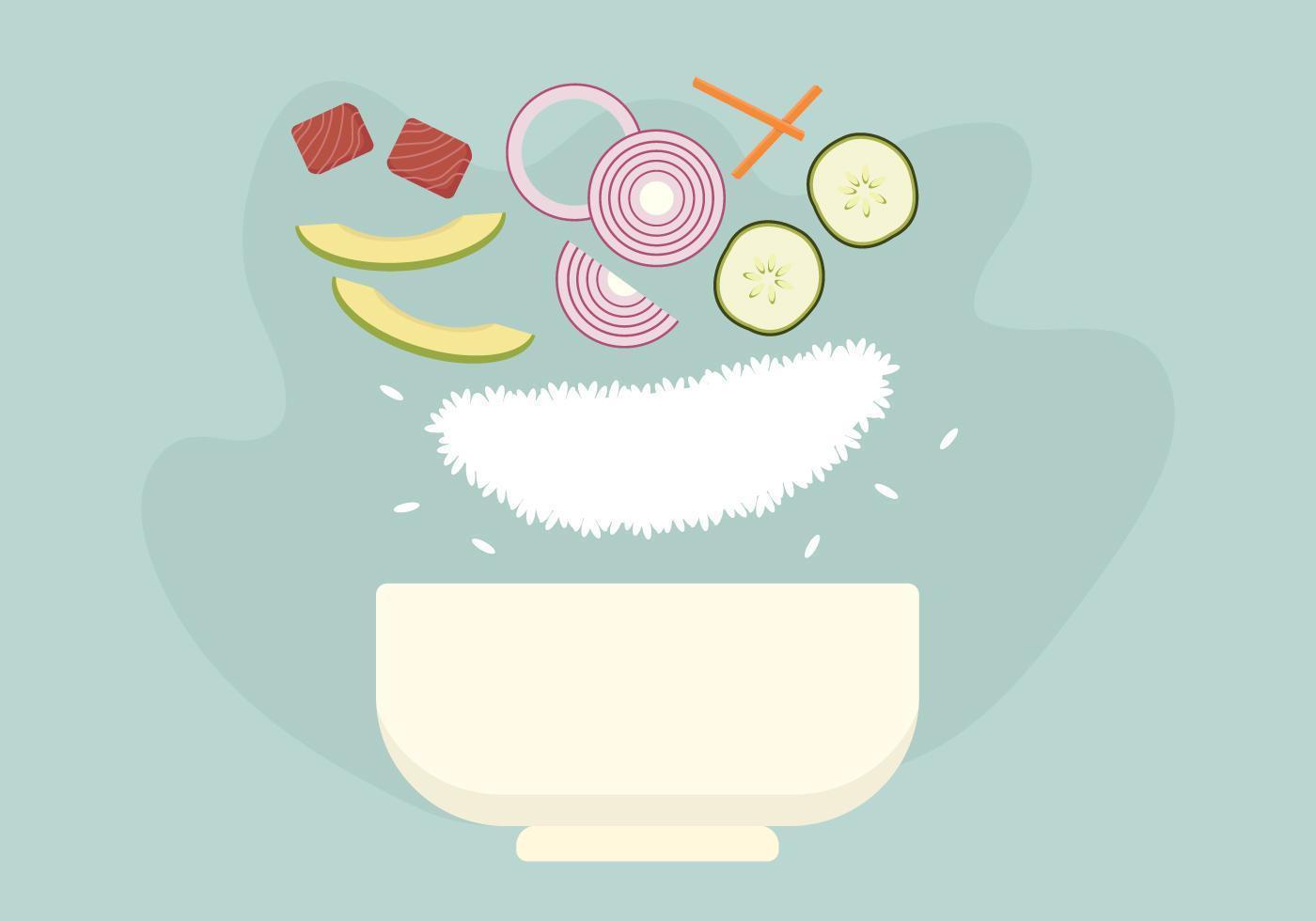 Poke Bowl Floating Ingredients vecteur