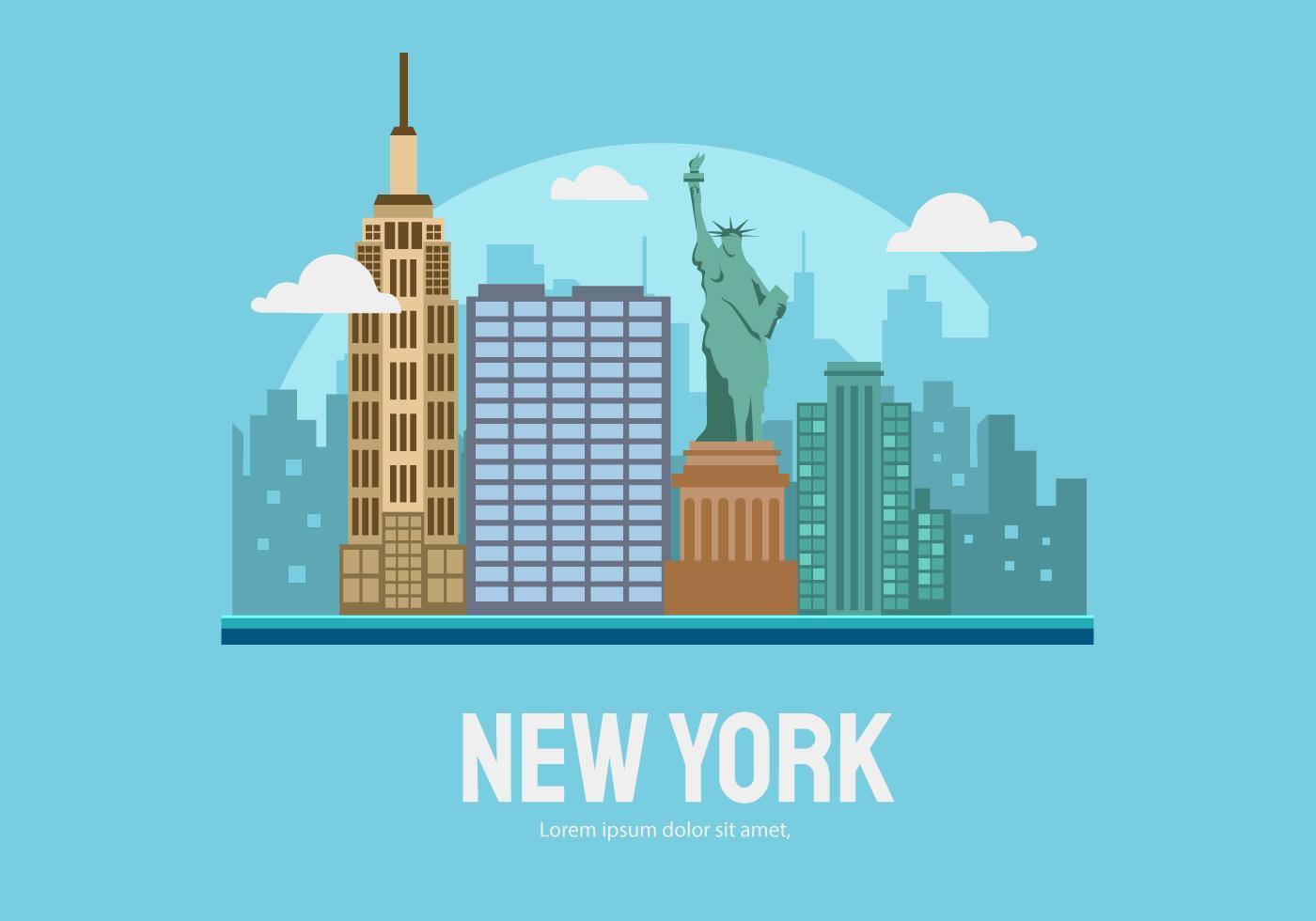 New York City Building Vector Flat Illustration