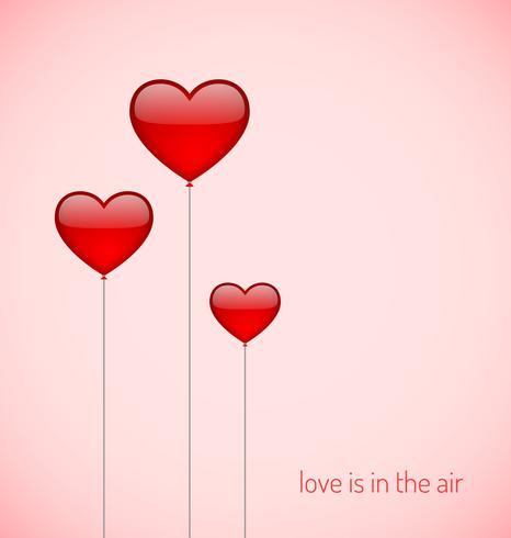 Ballons en forme de coeur, vecteur graphique illustratin