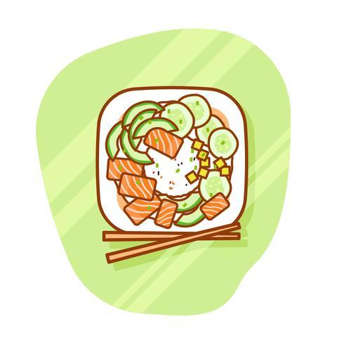 illustration de poke bowl vecteur