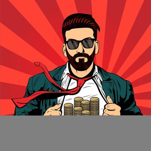 Homme d'affaires hipster barbe homme pop art vecteur