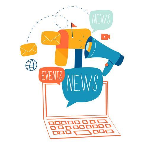 Courriel nouvelles, abonnement, promotion illustration design plat vector