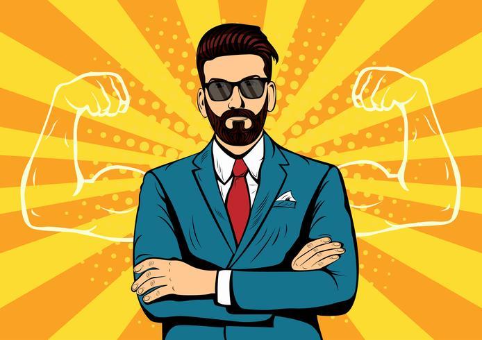 Homme d'affaires de barbe hipster avec style rétro muscles pop art vecteur