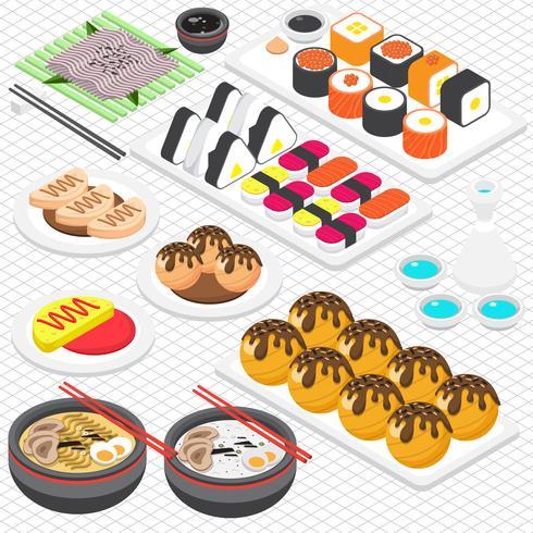 illustration du concept de cuisine japonaise graphique info vecteur